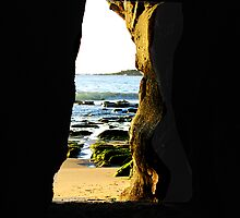 The Back Door to the Cave - Caves Beach by Bev Woodman