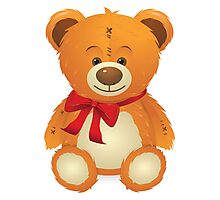 Teddy Bear with Red Bow Photographic Print