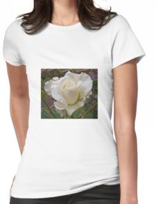 Close up of white rose Womens Fitted T-Shirt