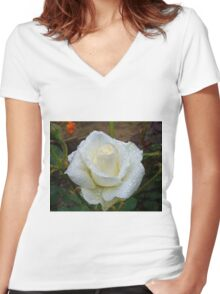 Close up of white rose 3 Women's Fitted V-Neck T-Shirt