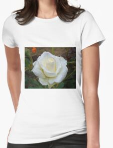 Close up of white rose 3 Womens Fitted T-Shirt