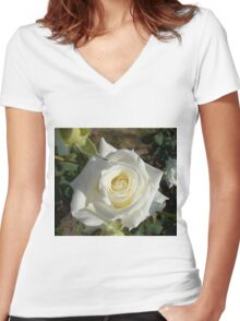 Close up of white rose 7 Women's Fitted V-Neck T-Shirt