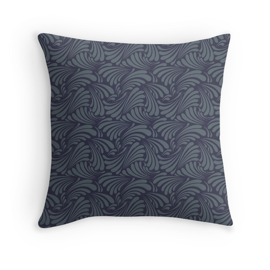 Marine Blue Throw Pillows : Marine blue swirl Throw Pillows by Spiralenvy Redbubble