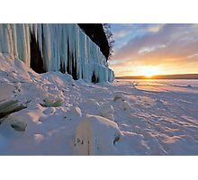Grand Island Ice Curtains at Sunrise - Munising, Michigan Photographic Print