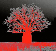 Boab Tree.  Red and Black. by Nada  Pantle