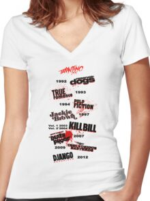 Quentin Tarantino - Art Filmography Women's Fitted V-Neck T-Shirt
