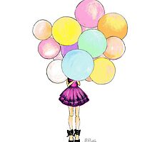 Girl with Balloons by pizzazzdesign