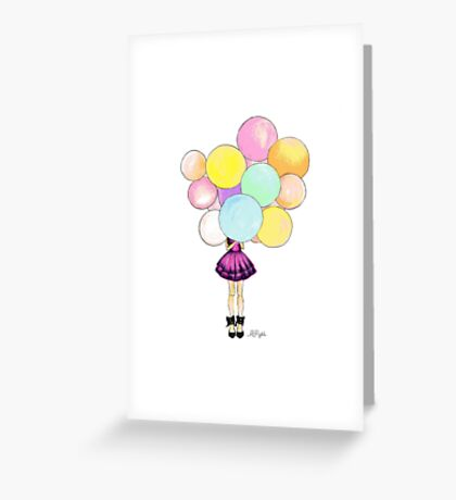 Girl with Balloons Greeting Card