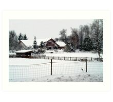 Snowed In Country Farmhouse Art Print