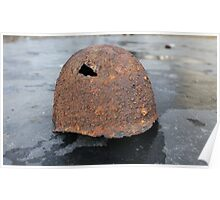rusty military helmet Poster