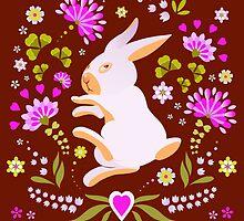 Easter Bunny on Chocolate Background by Kimazo