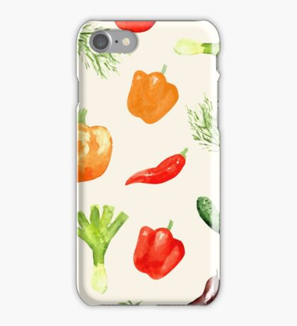 Watercolor vegetables pattern iPhone Case/Skin