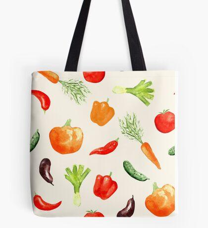 Watercolor vegetables pattern Tote Bag