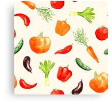 Watercolor vegetables pattern Canvas Print