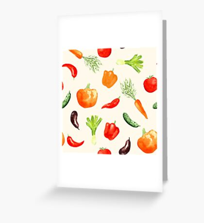 Watercolor vegetables pattern Greeting Card