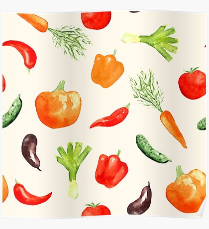 Watercolor vegetables pattern Poster