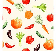 Watercolor vegetables pattern Photographic Print