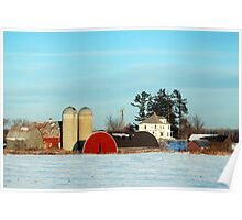 Barns in Winter  Poster
