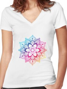 Warm Mandala Women's Fitted V-Neck T-Shirt