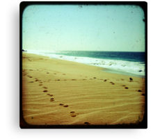 Footprints in the sand, summer beach photo print, green ocean waves dreamy, Mexico travel photography, Jesus religious biblical wall art Canvas Print