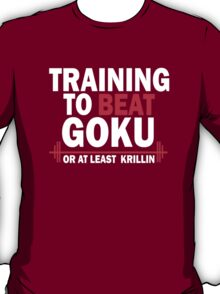 DragonBall Z Goku Training To Beat Goku Or Atleast Krillin Anime Cosplay Gym T Shirt T-Shirt