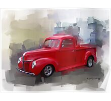 Red 41' Ford Poster