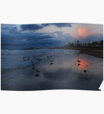 December evening clouds at Scheveningen Poster