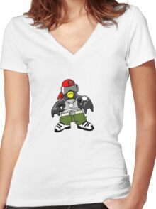 Hip Hop Tux Women's Fitted V-Neck T-Shirt