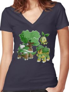 Sinnoh Project - Grass Starter Trio Women's Fitted V-Neck T-Shirt