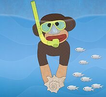 Sock Monkey Snorkeling by Janet Carlson