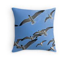 Flock of Gulls Throw Pillow