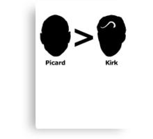 Picard > Kirk (black) Canvas Print