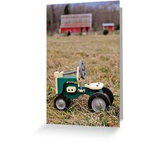 Wooden Toy Tractor in Front of the Barn Greeting Card