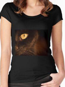 Portrait black cat Women's Fitted Scoop T-Shirt