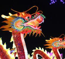 Dragons Light the Night Sky by savapavo