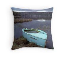 Dingy on Bradys Lagoon, Tasmania, Australia Throw Pillow