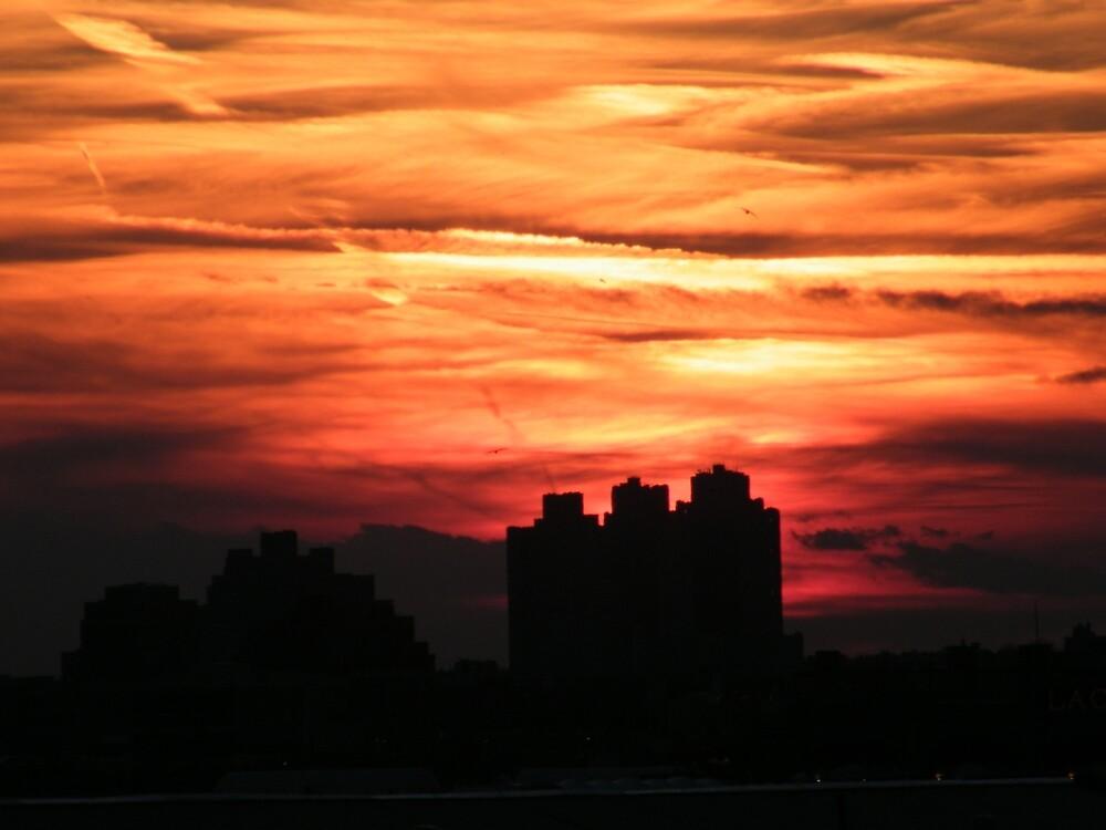 Jersey City, New Jersey Sunset,  Viewed from Manhattan by lenspiro