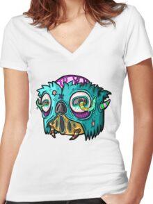 Carnihell #12 Monster head Women's Fitted V-Neck T-Shirt