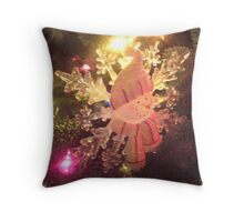 Brightly lit snowman ornament Throw Pillow