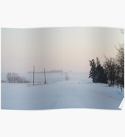 Snowy Country Roads Poster