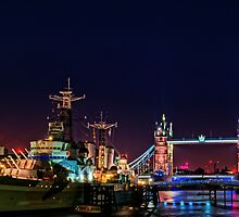 HMS Belfast And Tower Bridge at Night, London, England by atomov
