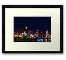 HMS Belfast And Tower Bridge at Night, London, England Framed Print
