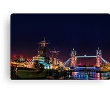 HMS Belfast And Tower Bridge at Night, London, England Canvas Print