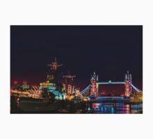 HMS Belfast And Tower Bridge at Night, London, England T-Shirt