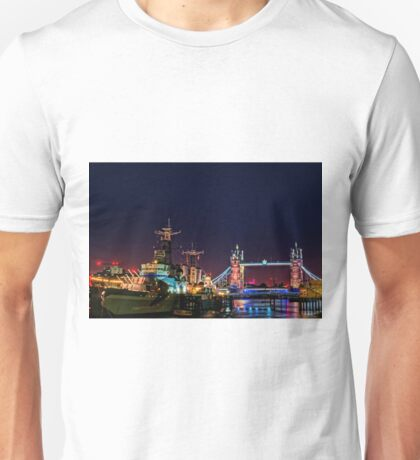 HMS Belfast And Tower Bridge at Night, London, England Unisex T-Shirt