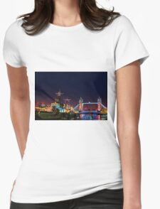 HMS Belfast And Tower Bridge at Night, London, England Womens Fitted T-Shirt