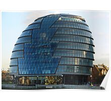 The imposing glass Greater London mayoral building on the banks of the Thames Poster