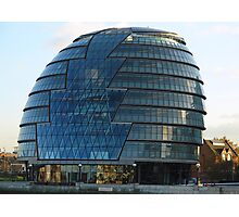 The imposing glass Greater London mayoral building on the banks of the Thames Photographic Print