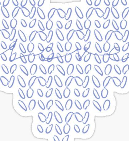 Knitting Knit Love Heart Sticker