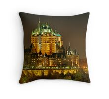 Night view of Le Chateau Frontenac, Quebec City Throw Pillow